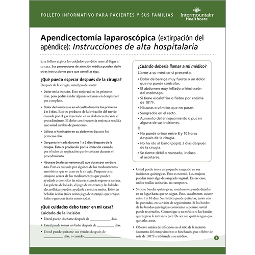Laparoscopic Appendectomy Appendix Removal Discharge Instructions